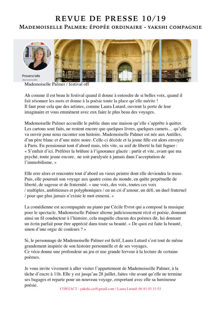 Revue de presse - MLLE PALMER- YAKSHI COMPAGNIE10
