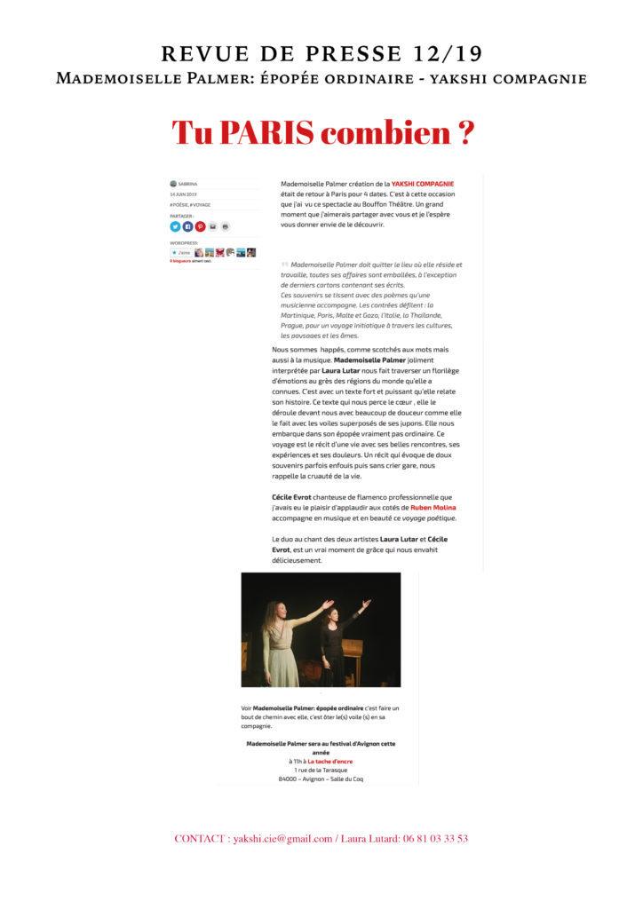 Revue de presse - MLLE PALMER- YAKSHI COMPAGNIE12