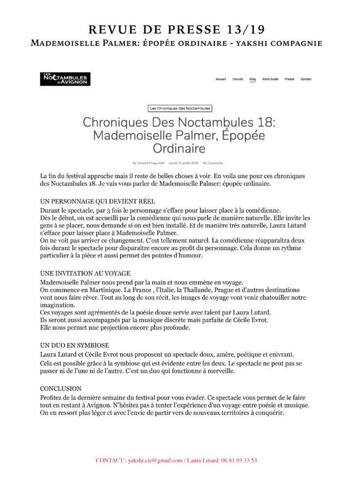 Revue de presse - MLLE PALMER- YAKSHI COMPAGNIE13