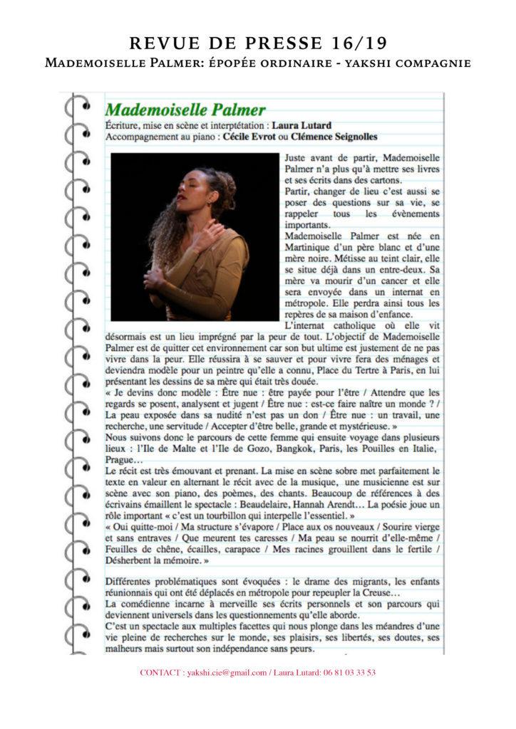 Revue de presse - MLLE PALMER- YAKSHI COMPAGNIE16