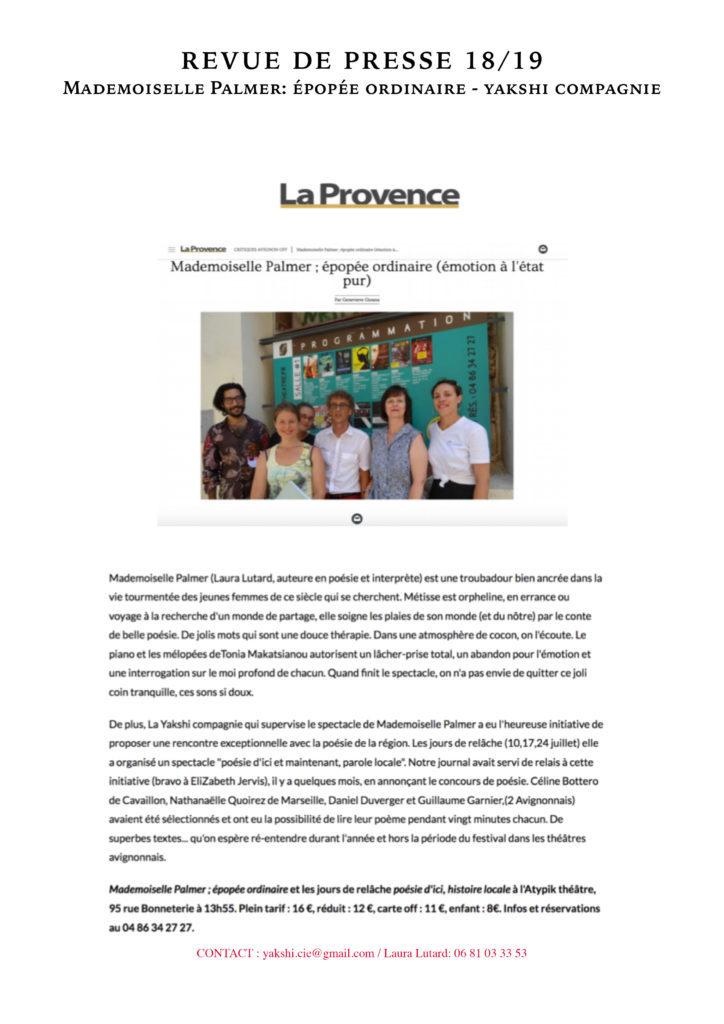 Revue de presse - MLLE PALMER- YAKSHI COMPAGNIE18
