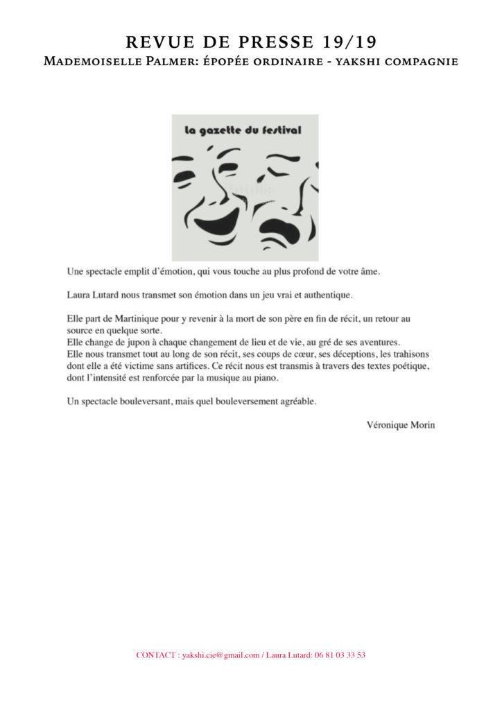 Revue de presse - MLLE PALMER- YAKSHI COMPAGNIE19