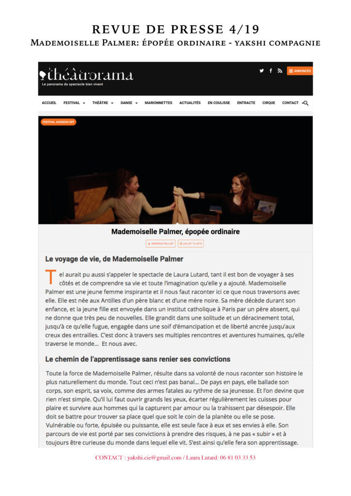 Revue de presse - MLLE PALMER- YAKSHI COMPAGNIE4