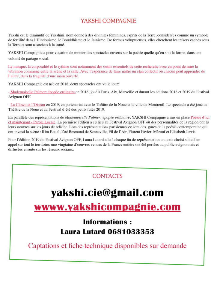 Mademoiselle Palmer- YAKSHI Compagnie - 202013